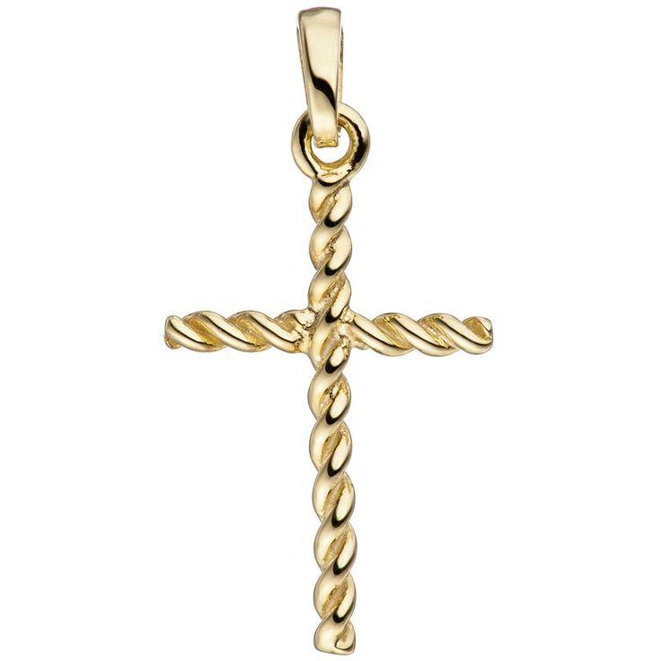 Anhänger Kreuz schmal 333 Gold Gelbgold Kreuzanhänger Goldkreuz