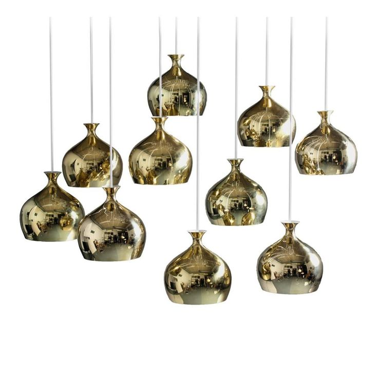 "Helge Zimdal ""the Onion"" Swedish Midcentury Pendants in Brass"