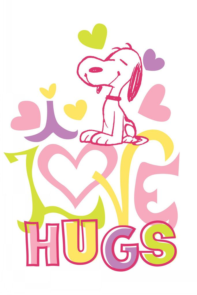 Snoopy in pink saying I love hugs