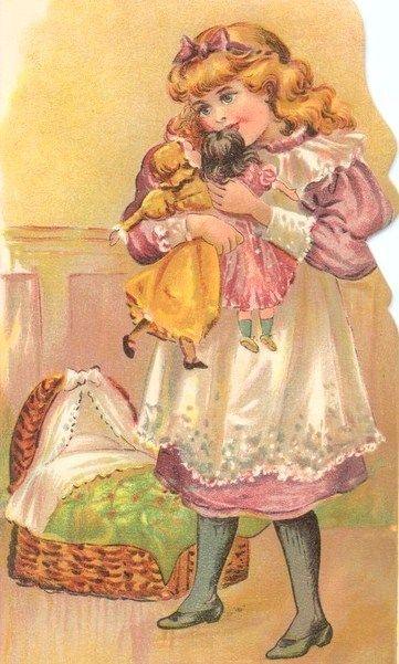 vintage girl with dolls - art