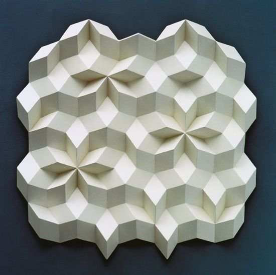 Rhombohedra relief sculpture by Dutch sculptor & artist Gerard Caris (b.1925). via Pleat Farm