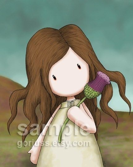 "Suzanne Woolcott (a.k.a. ""Gorjuss""), artist. (http://www.etsy.com/listing/37083247/heather-and-her-thistle-8-x-10-giclee)"
