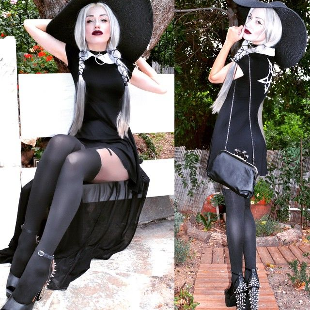 Nu goth/ Witch style. The giant black hat us awesome. Wednesday Addams inspired.