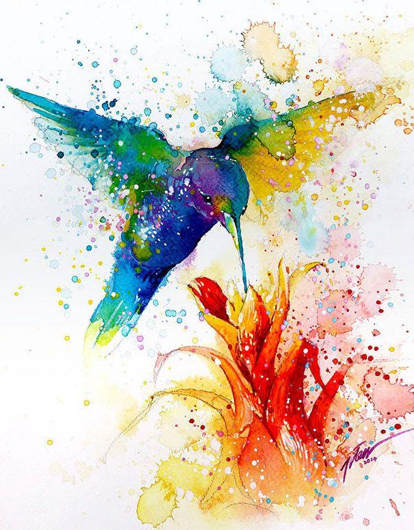 飛散する色彩と水滴!カラフルで可愛い小動物の水彩画 (2)