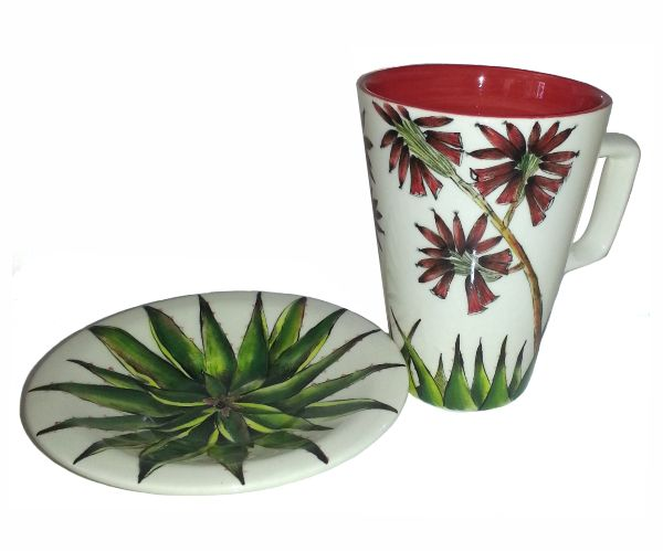 Red Aloe Coffee Cup - hand painted and locally manufactured in South Africa! #red #aloe #ceramic #coffee #cup