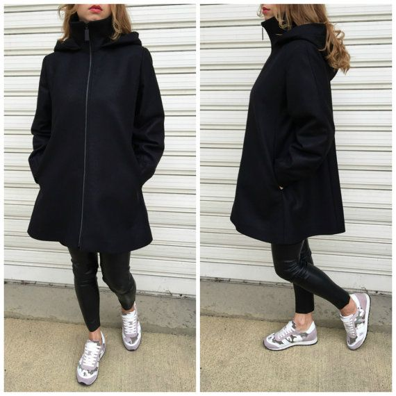 Cashmere Wool Hooded Coat with Pockets / Women Lined Cape Coat / Cashmere Black Jacket / Long Sleeve Trench Coat / EXPRESS SHIPPING