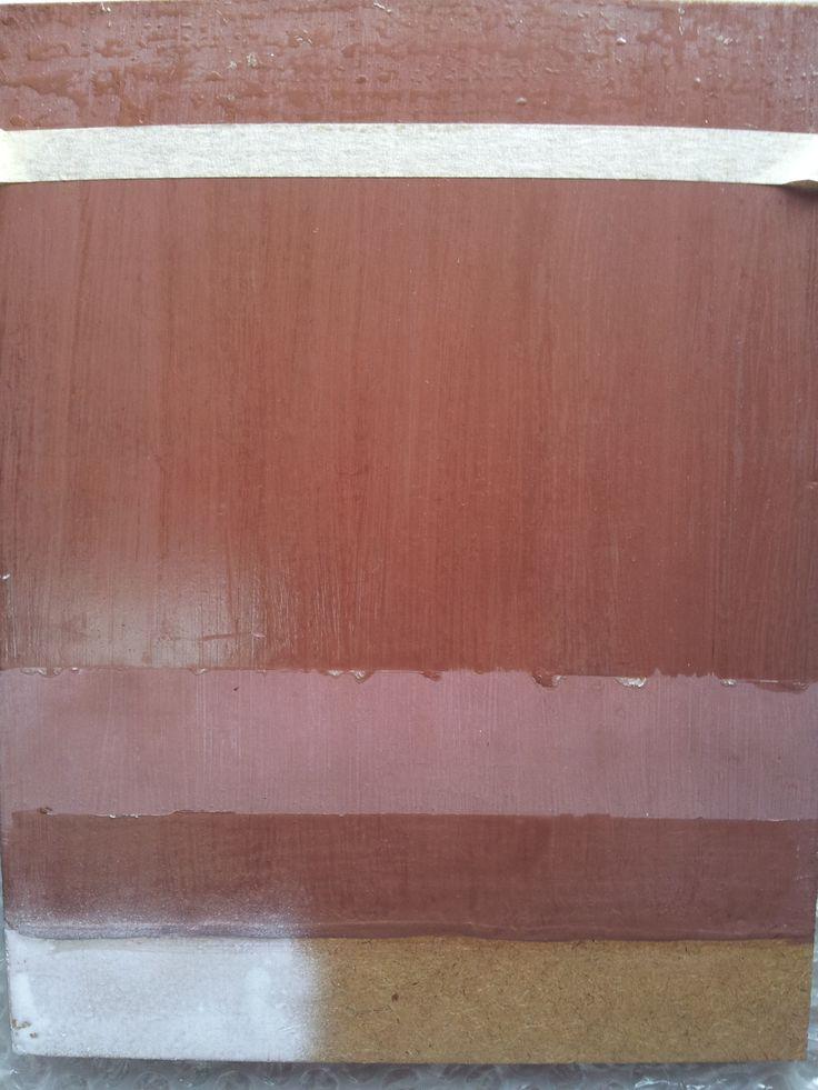 Matt sealed MDF showing progressive steps in painting to stimulate wood grain panel.