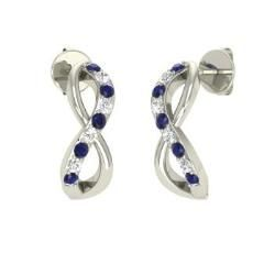 Sapphire and Diamond  Earrings in 14k White Gold (0.27 ct.tw.)