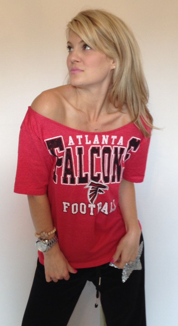 Women's Red Atlanta Falcons Off The Shoulder Tee Top Shirt  Medium on Etsy, $36.00