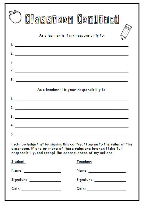 Classroom Contract *Freebie* In using the form of a contract where the responsibilities of both students and teachers are discussed and decided upon, students are more inclined take responsibility for their learning, and also better understand the important roles of a teacher.