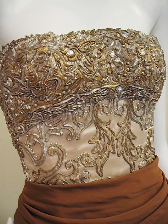Bodice detail of a 1950 dress by House of Balenciaga, France.