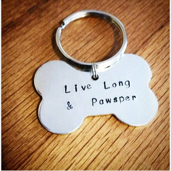 Custom dog Id tag live long and pawsper by Ohsocharmingbracelet