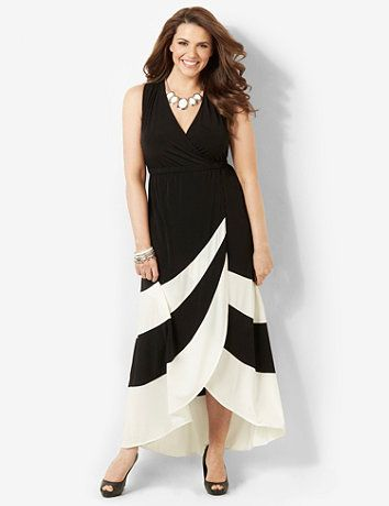 Bold stripes, contrast colors and angled cuts make our new knit maxi a contemporary classic. Stretch empire waist lengthens your look for a graceful silhouette. Pull-on style. Sleeveless. Surplice V-neckline. Catherines plus size dresses are expertly designed to flatter your figure. catherines.com