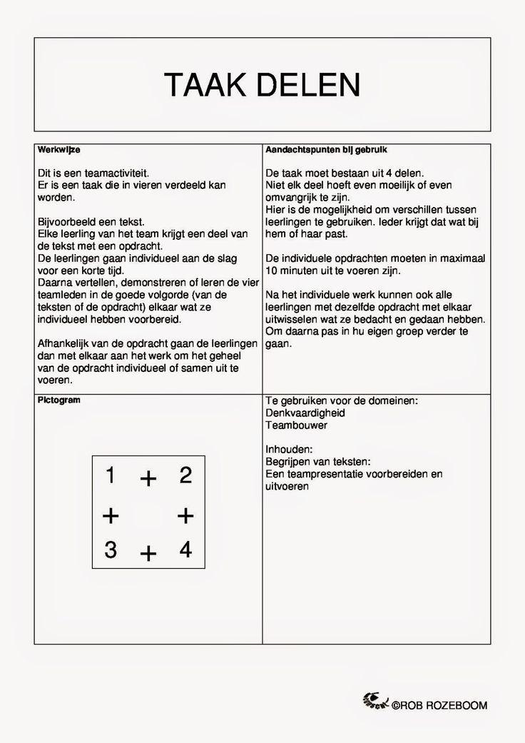 TAAK DELEN VERSIE 1: Nederlands: Aan de slag met een tekst (begrijpend lezen). Iedereen krijgt een stukje tekst met een bijpassende opdracht. De leerlingen vertellen aan elkaar wat ze te weten zijn gekomen. VERSIE 2: Wiskunde: Elke leerling lost een andere oefening op. Ze leggen aan elkaar hoe ze aan de oplossing zijn gekomen.  Bron: Onderwijs en zo voort ........: 1129. Coöperatieve werkvormen : Kaart 19-24