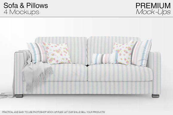 Sofa Pillows Pack Mockup Psd Mockup Free Psd Free Logo Mockup Psd