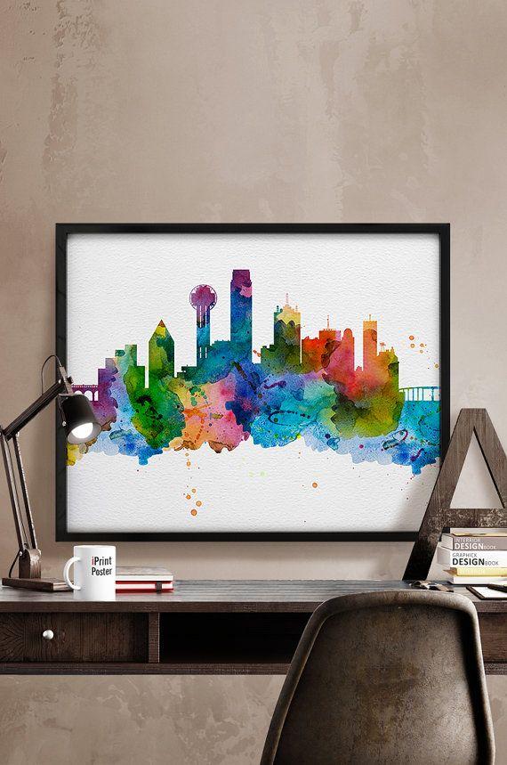 Dallas Watercolor, Dallas skyline, Dallas print, Dallas poster, Dallas Texas cityscape, Art, Wall art, Home Decor, wall decor, Dallas Texas.