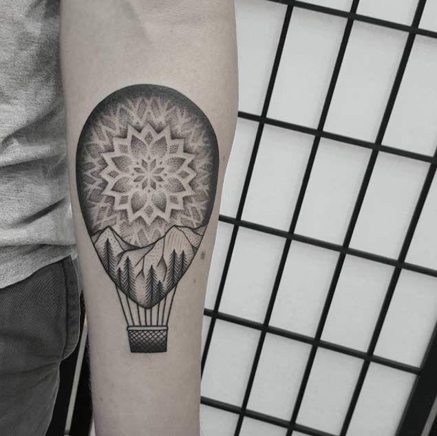 Mandala+Dotwork+Hot+Air+Balloon+Tattoo+by+Ben+Doukakis