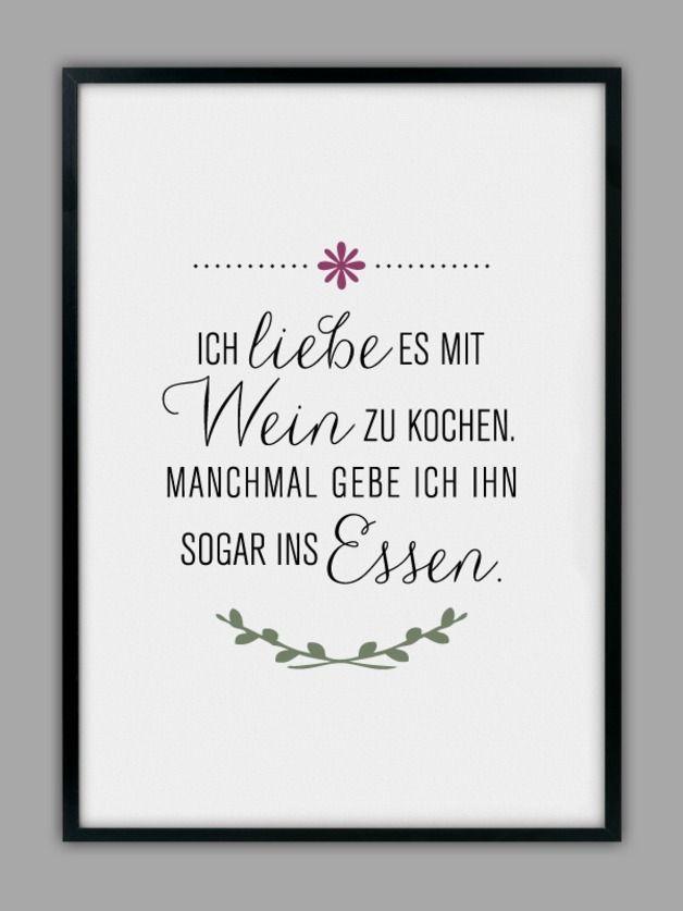 """Originaldruck - """"MIT WEIN KOCHEN"""" Kunstdruck, Küchen Poster - ein Designerstück von Smart-Art-Kunstdrucke bei DaWanda"""