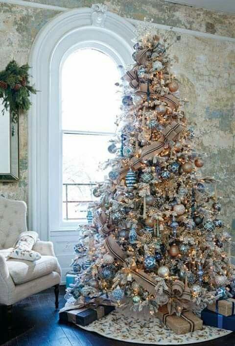 Beautiful Christmas Tree Ideas - Blue Silver and Gold Christmas Tree