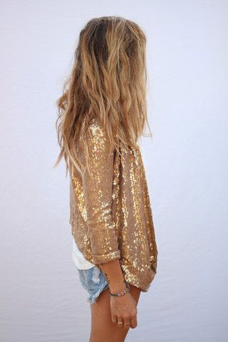 edison sequin jacket: Sequins Blazers, Fashion, Style, Clothing, Outfit, Gold Sequins, Cutoffs, Denim Shorts, Sequins Jackets