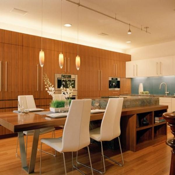 interior modern design with table island cool brown color wooden material good three hanging lamps good long table timber floor varnished designs our
