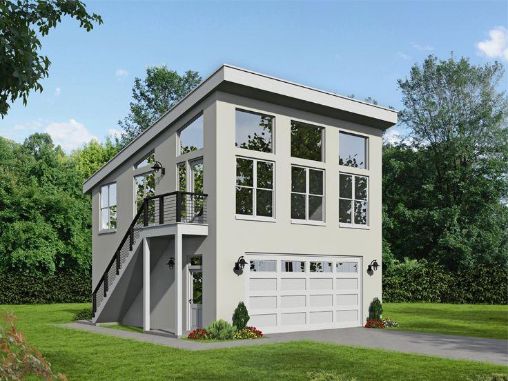 062g 0214 Modern Garage Plan With Man Cave In 2020 Garage Plans With Loft House Plans House Without Garage