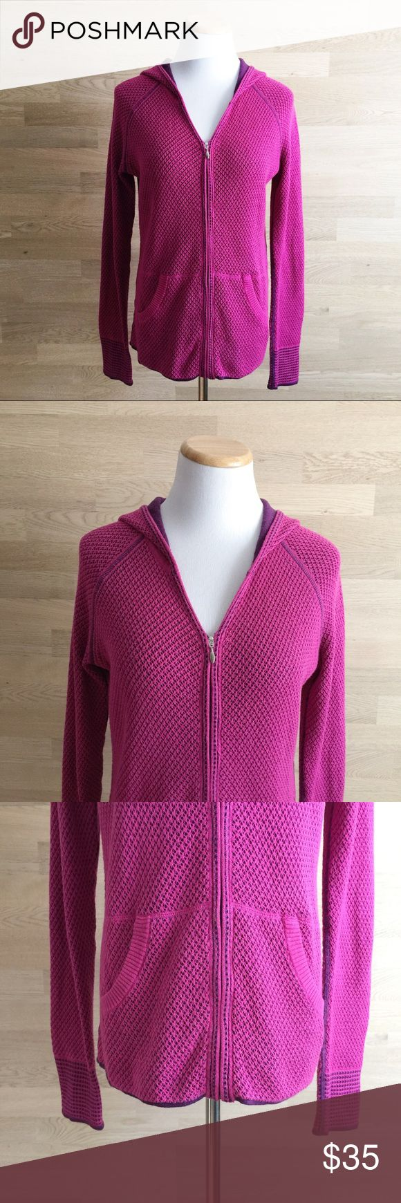 "Title Nine Zip Up Hoodie Sweater Size Small Purple/pink zip up hoodie. Sweater/fleece/sweatshirt hybrid. Light weight. V-neck. Crochet knit top layer. Purple lining. Front pockets. Silver tone hardware. Underarm to underarm 18"", sleeve length 28.5"", total length 25"". Great sweater for cool summer nights. Preowned. No issues. A02 Title Nine Sweaters"