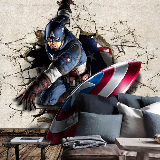Captain America Photo Wallpaper 3D Wallpaper Boys Kids Room decor Marvel Heroes …