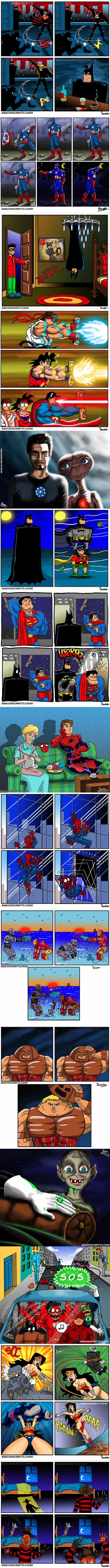 The Funniest Superhero Comics Collection. The last one got a chuckle out of me.