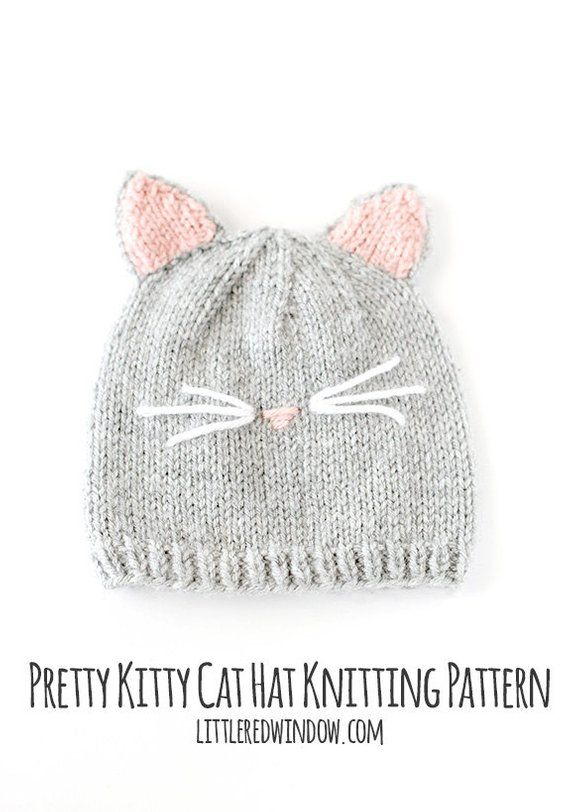 8f3741b29dc Baby Cat Hat KNITTING PATTERN    Cat Ear Hat Pattern    Baby Knit ...