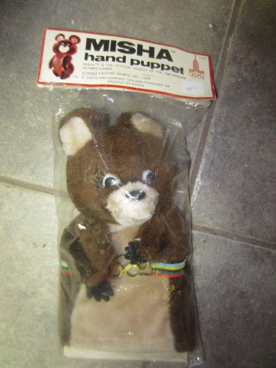 Misha Bear hand puppet Moscow 1980 Olympics by kookykitsch on Etsy, $19.99