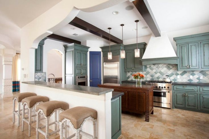 arabeaque backplash kitchen wall cabinets ceiling hanging lamps stools flowers mediterranean room of Elegant Arabesque Backsplash Kitchen Designs to Get Ideas From