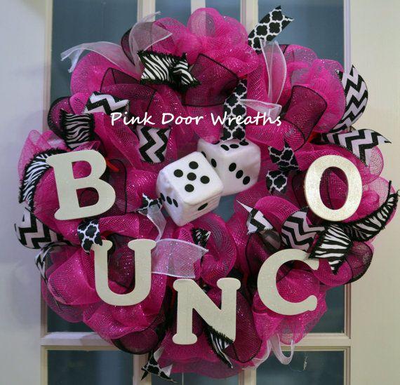 Made to Order - Wreath door prize BUNCO DICE game black pink white zebra print mesh ribbons by #PinkDoorWreaths