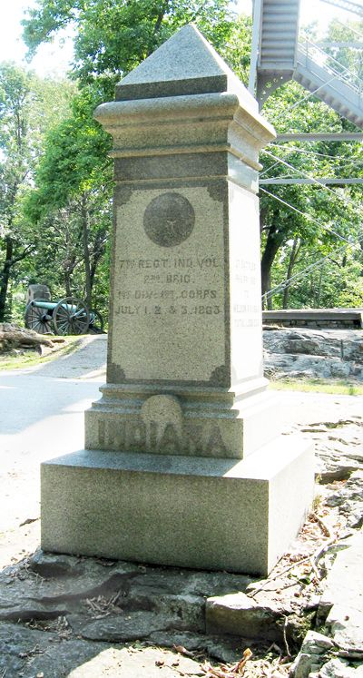 The monument to the Seventh Indiana Infantry is southeast of Gettysburg on Culp's Hill, just north of the parking area.