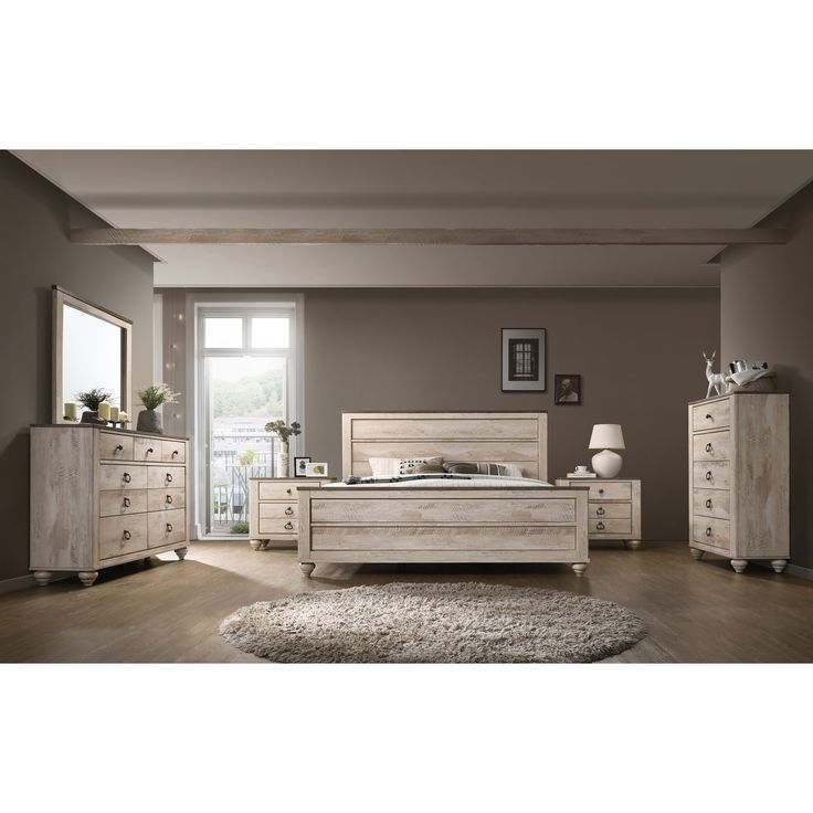 Best Imerland Contemporary White Wash Finish 6 Piece Bedroom 400 x 300