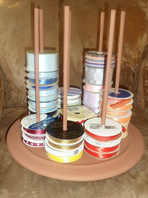 "Ribbon Carousel made from a lazy susan and 5/16"" dowels."