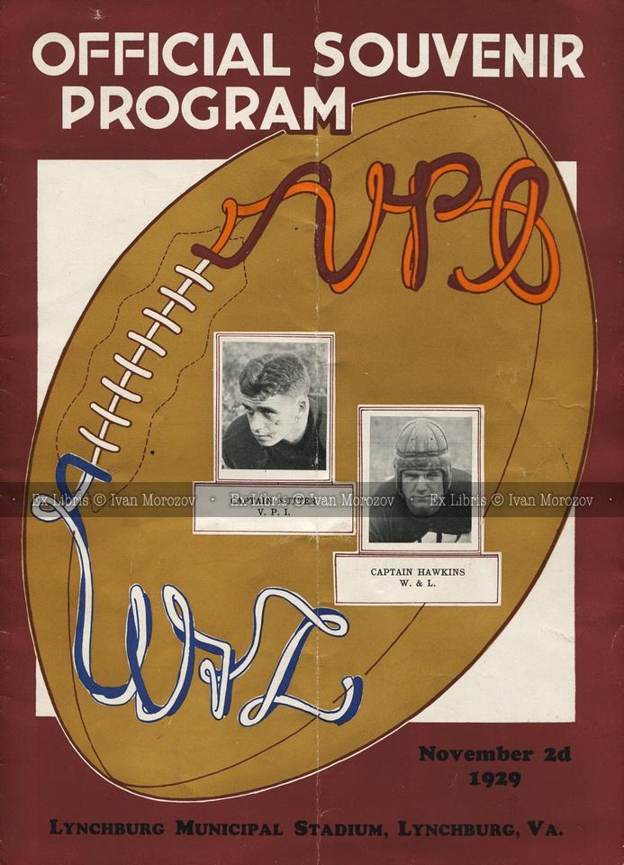 1929.11.02. Virginia Tech (Hokies) vs Washington and Lee