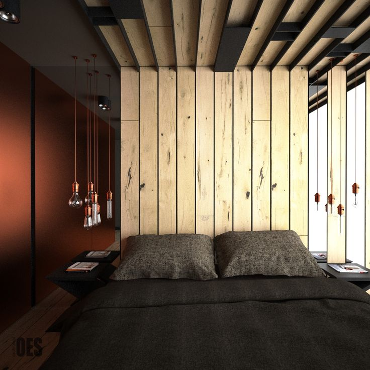 drewniane panele na suficie i ścianie, oryginalna sypialnia, miedź we wnętrzu, lustro klejone do ściany