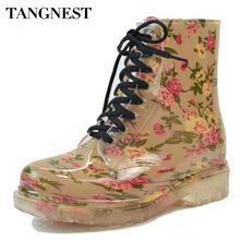 Tangnest 2017 primavera botas de chuva de borracha dedo do pé redondo das mulheres sapatos de leopardo floral lace-up ankle boots mulher grande tamanho 36-40 xwx2327 alishoppbrasil