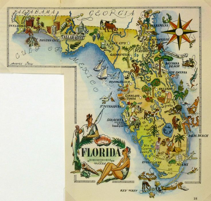 Florida Pictorial Map 1946 Florida MapsPictorial MapsUnited