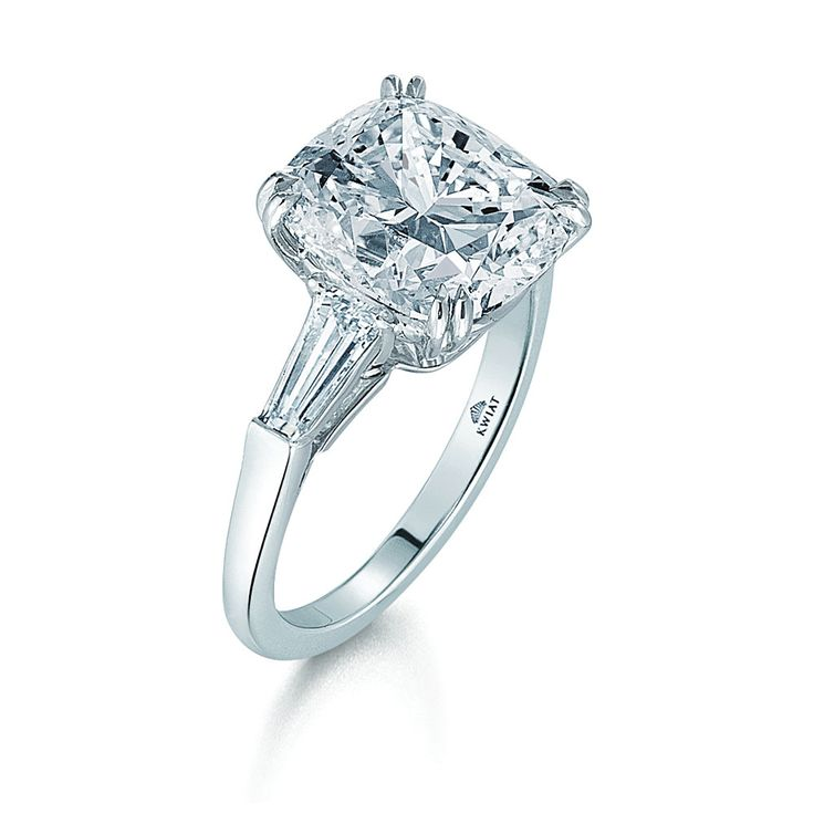 Kwiat: Cushion Diamond and Platinum Ring with Two Tapered Baguettes