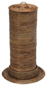 Toilet Paper Roll Tower and Cover, Nito/Rattan, Brown - contemporary - Toilet Accessories - KOUBOO
