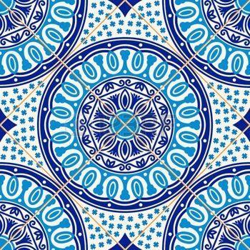 azulejo: Superbe pattern de bleu foncé et blanc floral turc,, azulejos portugais marocains, ornements.