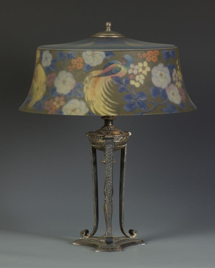 pairpoint+lamps | 595 - Pairpoint Reverse Painted Lamp w/Exotic Birds & Flowers
