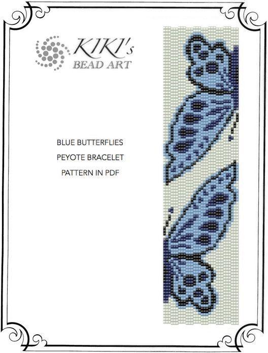 Blue butterflies peyote bracelet pattern PDF instant download