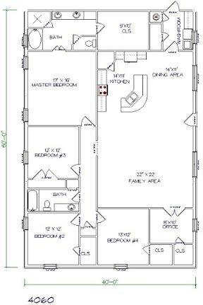 barndominium floor plans 40x60 5 bedroom 2 bathroom
