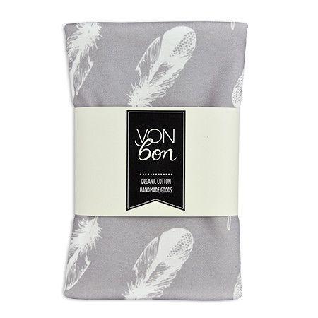 vonbon gray feather blanket handmade organic cotton goods