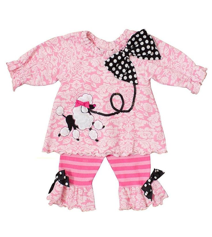 """Peaches n Cream Molly & Millie Baby Girls' Pink Black POODLE PARTY 2-pc Outfit, 12 Months. Pink long-sleeved knit tunic with polka-dotted black bow detail at elastic neckline and cute fuzzy poodle applique with jewel """"nose"""" and sequined """"leash"""" on the front, over pink striped leggings with bows and ruffles at ankles 2-pc set. 92% cotton / 8% spandex. Machine washable. Pull-on. By Molly & Millie - division of boutique brand Peaches n Cream, one of the oldest and most popular children's..."""