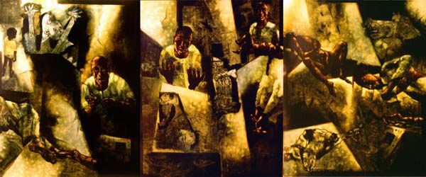 yusuf arakkal paintings: 'Gujarnica', a triptych depicting the gruesome pogroms of the Gujarat riots
