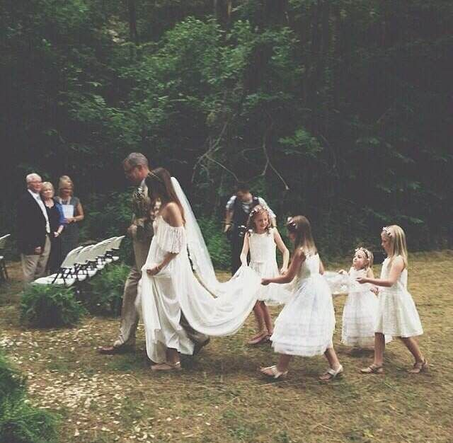 #Flowergirls carry the train for their beautiful #boho #bride! For more flower girl tips, tricks, inspiration & ideas, visit us at www.flowergirlworld.com!